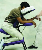 Client receiving chair massage